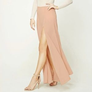 Blush pink Forever 21 Maxi Skirt with Side Slit